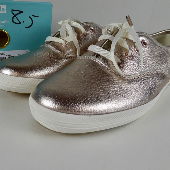199f58d54f60 Kate Spade Keds Metallic Rose Gold Sneakers Shoes